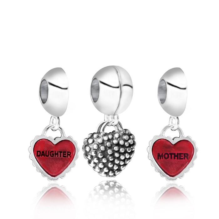 MATERIA Schmuck 925 Silber Beads Anhänger Herz Mother & Daughter mit Emaille rot Juwelieranfertigung inkl. Schmuck Box #92