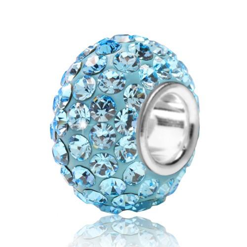 MATERIA Schmuck 925 Silber Kristall Bead hellblau türkis - European Beads Strass blau Element #12