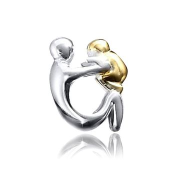 MATERIA 925 Silber Beads Mutter Kind Baby Element in Gold & Silber hochglanz - European Bead Familie 14k vergoldet #1405