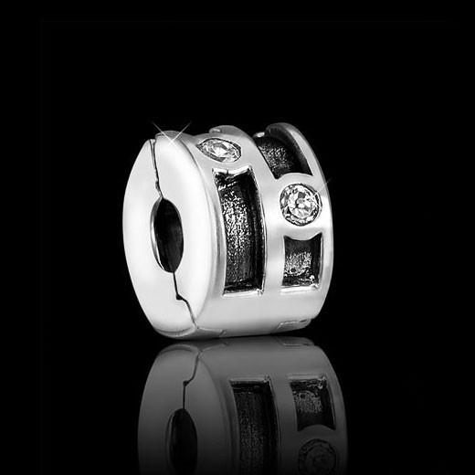 MATERIA 925 Silber Beads Zirkonia Stopper Clip für European Beads Gewinde Armbänder 3mm #1059