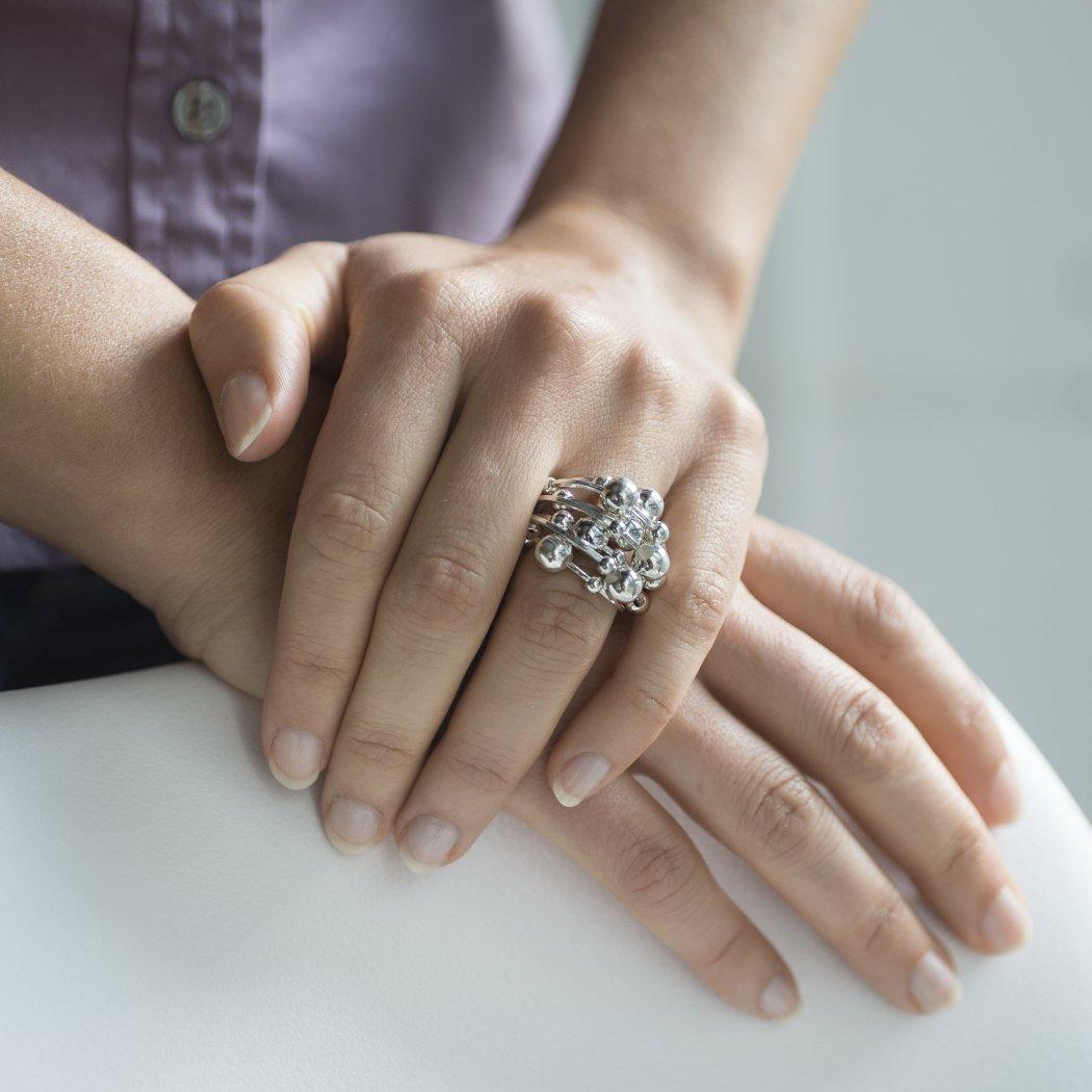 Breiter Damen Ring echt Silber mit beweglichen Kugeln