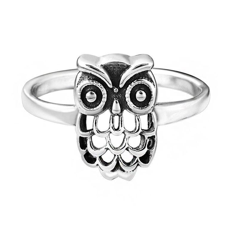 MATERIA Schmuck Damen Ring Eule silber - 925 Silber Ring antik Vogel Gr. 16 17 18 19 mm inkl. Ring Box #SR-37