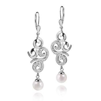MATERIA Damen Perlen Ohrhänger Zirkonia Silber 925 mit Brisuren rhodiniert 16x57mm + Box #SO-151