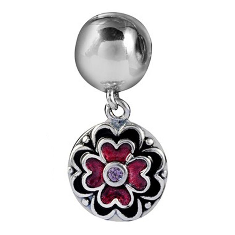 MATERIA Dangle Charm 925 Silber Bead Stopper mit Emaille Blumen rot lila - Zirkonia Bead Clip für Beads Armbänder #94
