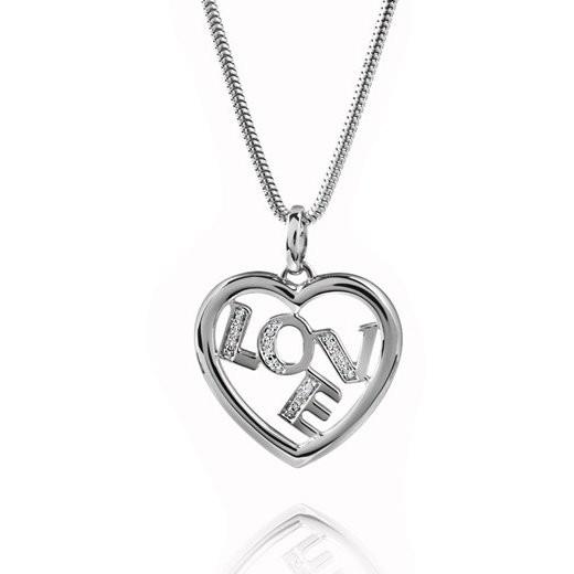 MATERIA Herz Anhänger Liebe / Love AMARE - 925 Silber Ketten Anhänger Zirkonia rhodiniert #KA-146