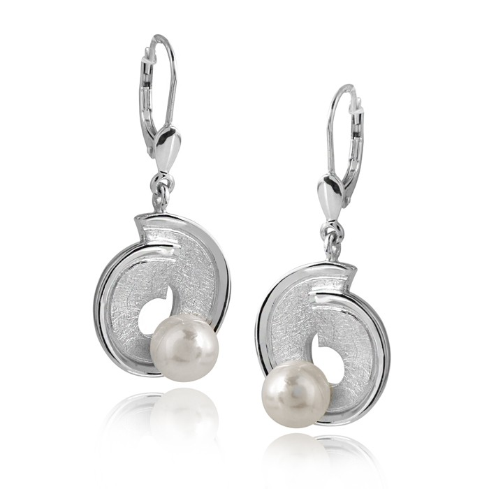 MATERIA Schmuck 925 Silber Ohrhänger Perle lang matt gebürstet 14x33mm - Perlenohrringe rhodiniert inkl. Box #SO-158
