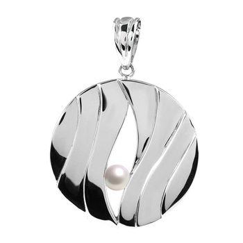 MATERIA Damen Kettenanhänger Perle rund - 925 Silber Schmuck Anhänger Süsswasserperle rhodiniert mit Kette KA-148