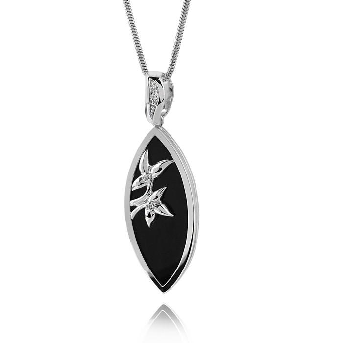 MATERIA 925 Silber Anhänger Onyx schwarz 20x56mm - Onyx Kettenanhänger Zirkonia weiss mit Blüten inkl. Box / Juwelieranfertigung #KA-149