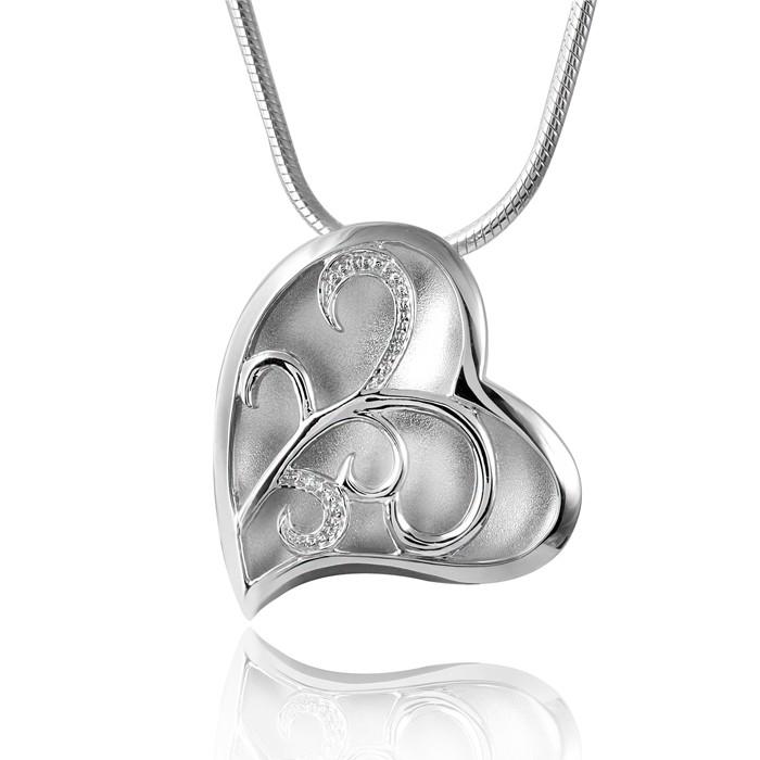 MATERIA Damen Anhänger Herz gewölbt 925 Sterling Silber rhodiniert mattiert inkl. Schmuck Box #KA-152