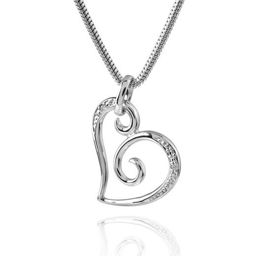 MATERIA Schmuck Fantasie Herz Anhänger Damen - 925 Silber Kettenanhänger Herz mit 2 Zirkonia rhodiniert #KA-154
