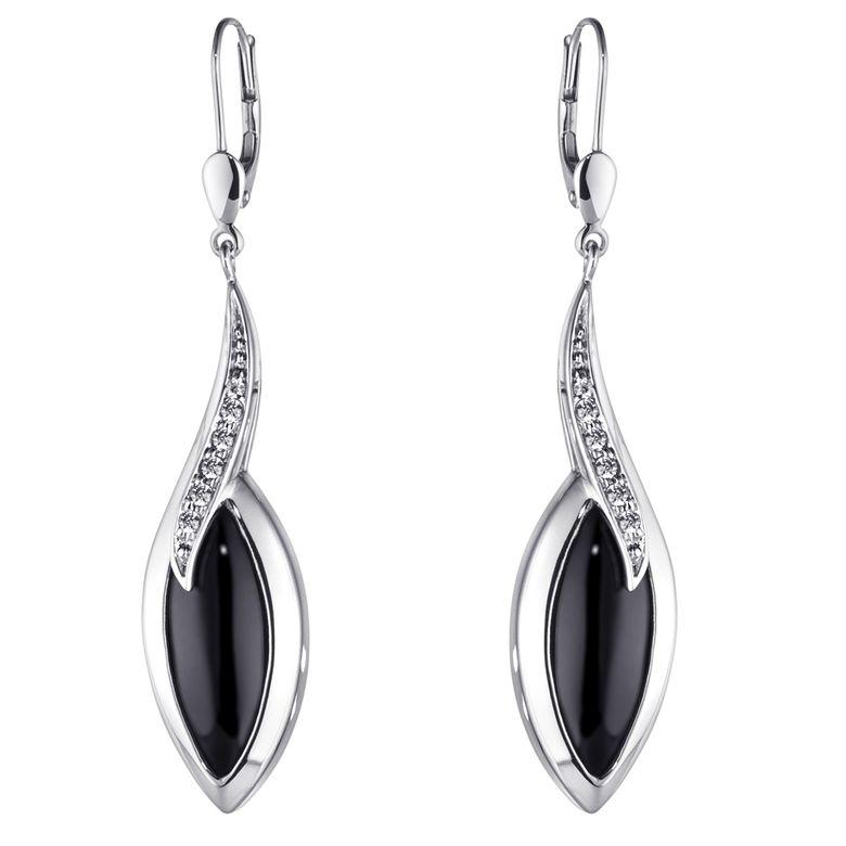 MATERIA Elegante Ohrringe Silber 925 schwarz - Damen Ohrhänger mit Onyx Edelstein Tropfen und Zirkonia SO-164