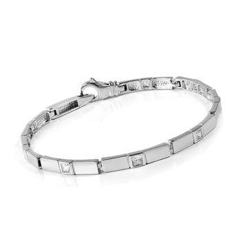 MATERIA 925 Silber Armband mit 8 Zirkonia 18,5cm - Damen Armband silber satiniert rhodiniert inkl. Holzbox #JA-4