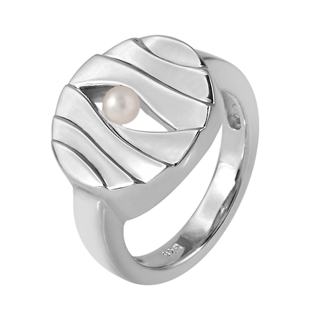 MATERIA Damen Perlen-Ring Silber 925 rhodiniert gewellt