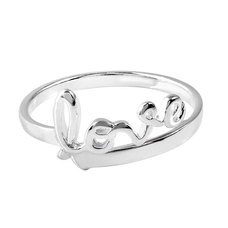 MATERIA Schmuck 925 Silber Ring Love / Liebe Schriftzug - Damen Ring silber hochglanz Gr. 52 - 60 / Größe verstellbar inkl. Box #SR-43