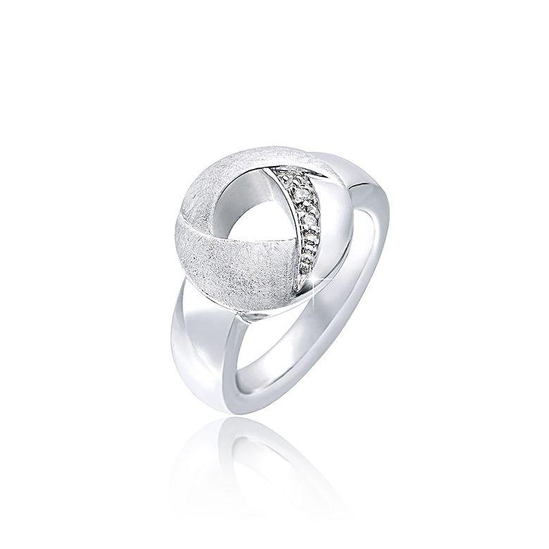MATERIA Damen Ring Silber 925 mit Zirkonia matt gebürstet rhodiniert rund inkl. Ringetui  #SR-45