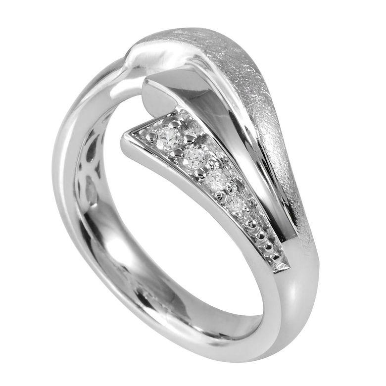 MATERIA 925 Silber Ring Fantasie Blatt Design - Zirkonia Ring Damen silber gebürstet rhodiniert inkl. Ring-Etui #SR-46