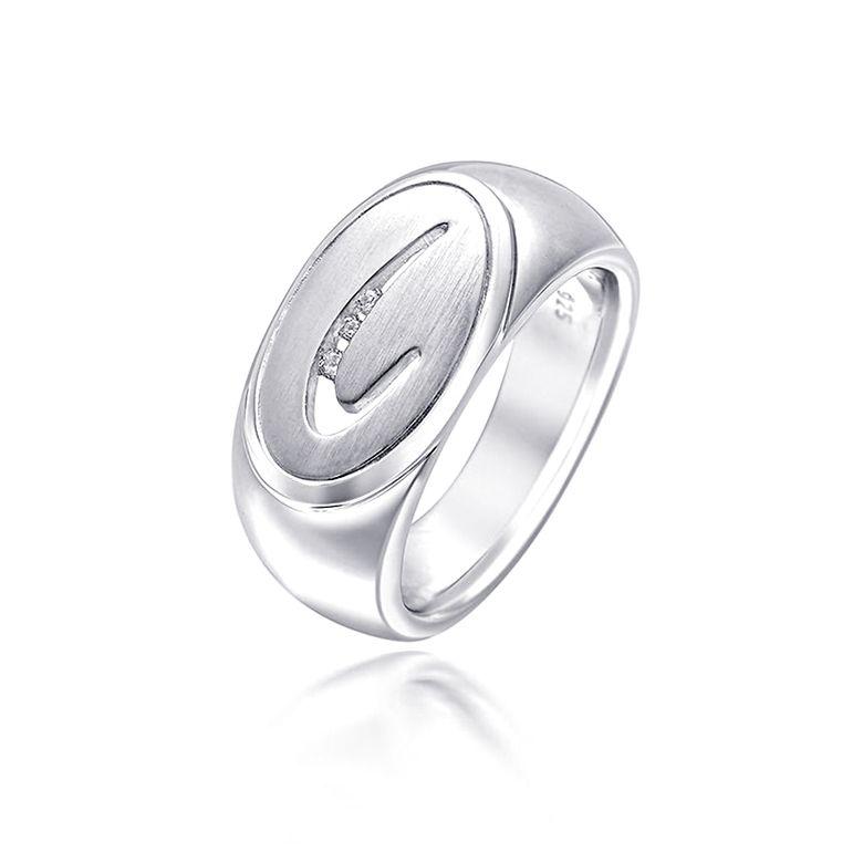 MATERIA Damen Ring 925 Silber mit Zirkonia satiniert rhodiniert oval inkl. Schmuckbox #SR-48