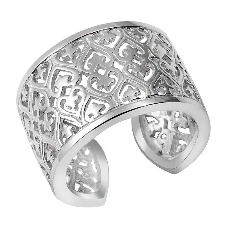 Materia Damen Ring Herz Kreuz 925 Sterling Silber breit verstellbar Größe 52 - 60 in Geschenk-Box #SR-49