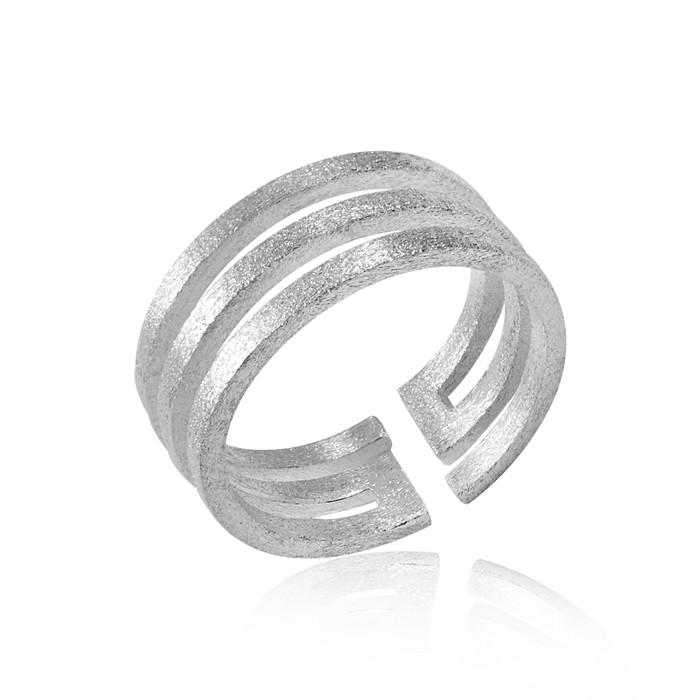 MATERIA Schmuck 925 Silber Ring Labyrinth - Silber Damen Ring breit sandgestrahlt in Gr. 51 - 60 / Größe verstellbar #SR-52