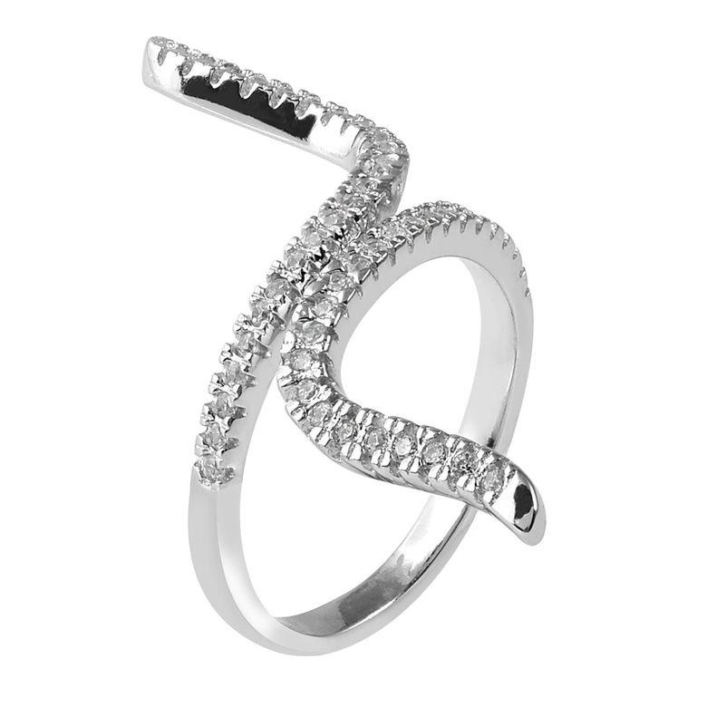 MATERIA 925 Silber Ring Schlange - Silber Damen Ring Zirkonia Snake in Gr. 51 - 60 / Größe verstellbar #SR-54