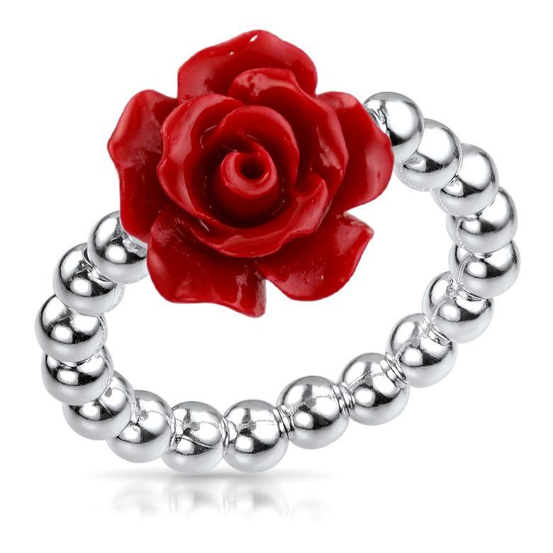 MATERIA Damen Ring Rose Blume rot 925 Silber - Schmuck Ring 16-19mm verstellbar flexibel mit Ringbox SR-57-rot