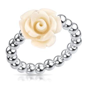 MATERIA Damen Ring Rose Blume weiß 925 Silber - Schmuck Ring 16-19mm verstellbar flexibel mit Ringbox SR-57-weiß