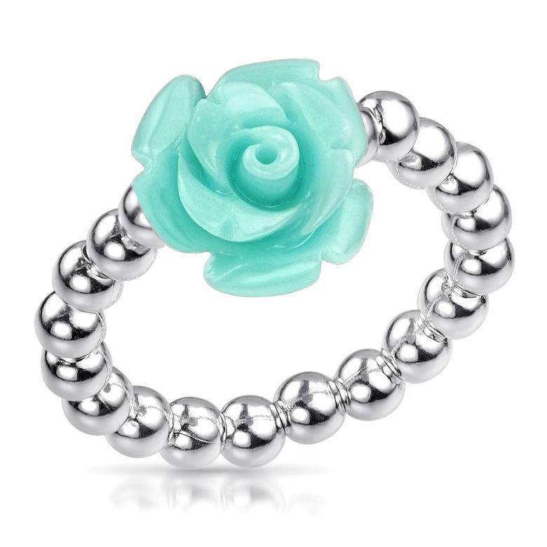 MATERIA Damen Ring Blume türkis 925 Silber - Rosenblüte Silberring 16-19mm verstellbar flexibel SR-57-türkis t