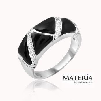 MATERIA 925 Silber Ring Onyx 18mm Gr. 57 - Zirkonia Ring schwarz rhodiniert inkl. Ringbox #SR-59
