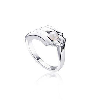 MATERIA Damen Ring 925 Sterling Silber mit Perle weiß rhodiniert