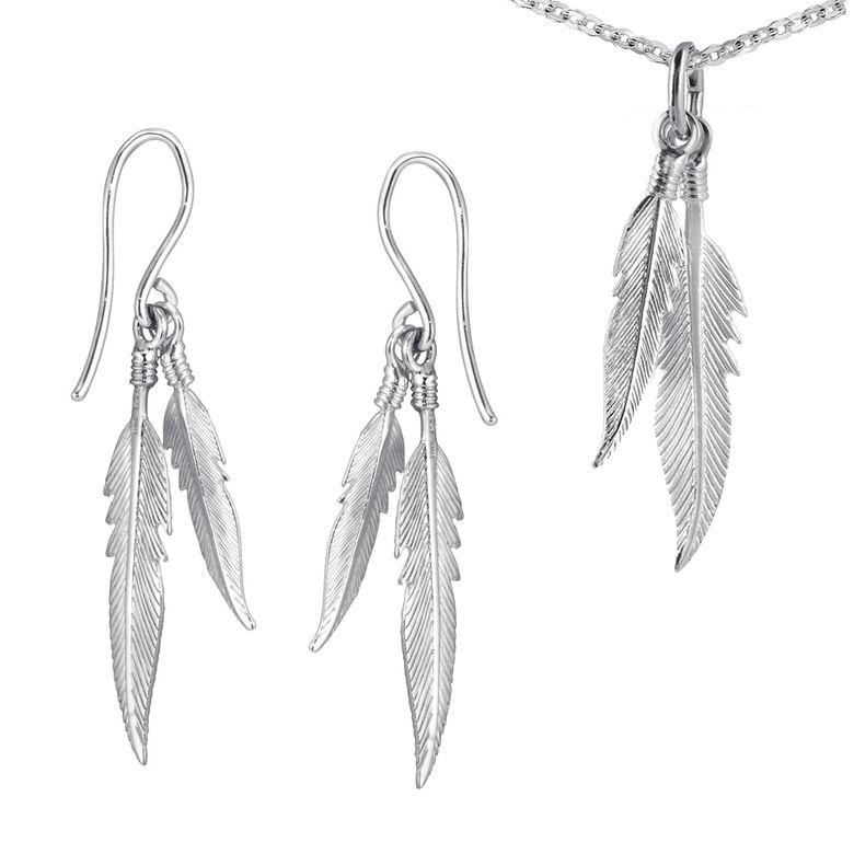 MATERIA Feder Schmuck-Set 925 Silber Halskette mit Anhänger und Ohrhänger Federn rhodiniert mit Etui