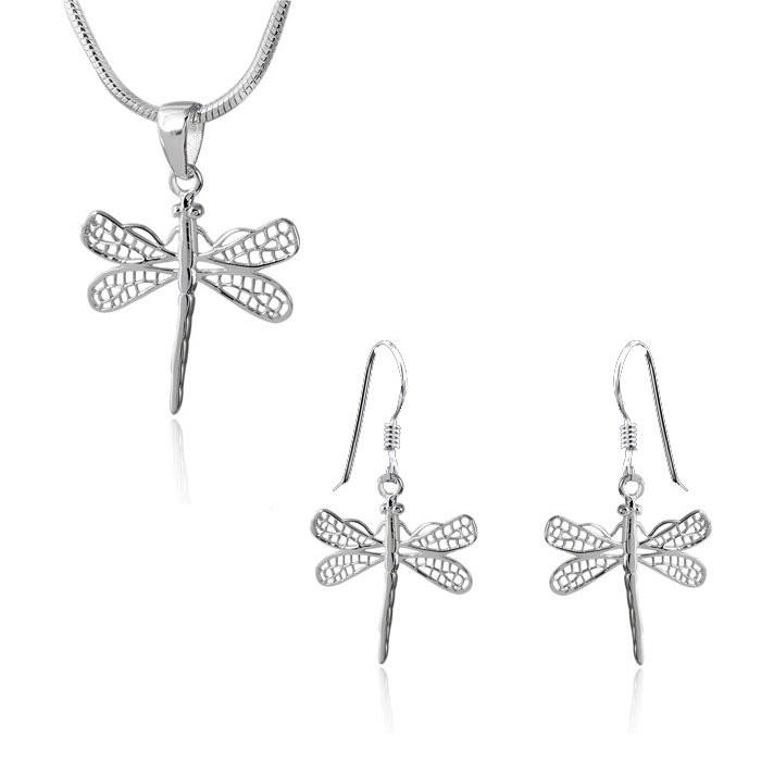 MATERIA Kette mit Anhänger und Ohrringe Libellen 925 Silber