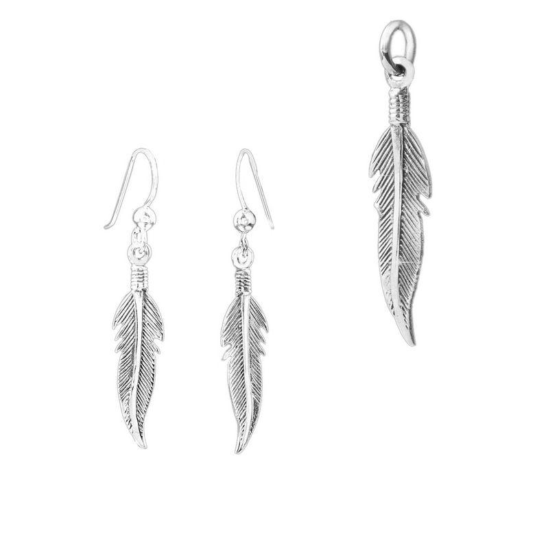 MATERIA 925 Silber Schmuckset Feder Anhänger + Ohrringe Federn silber Ohrhänger Indianer Schmuck inkl. Box #KA-SO-122