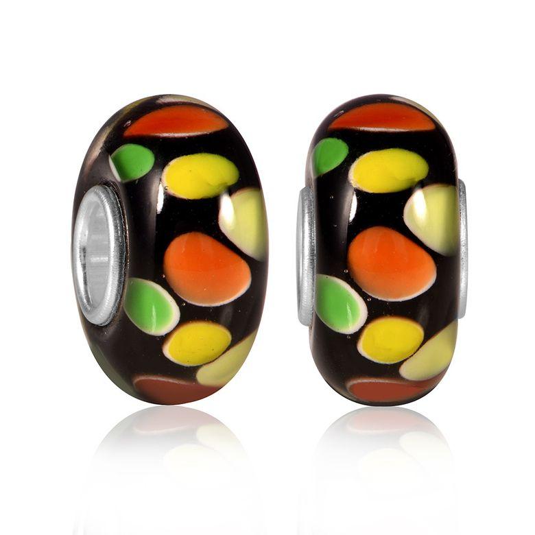 MATERIA Muranoglas Beads schwarz gelb Punkte Element - 925 Silber Murano Beads Glas rot orange #120