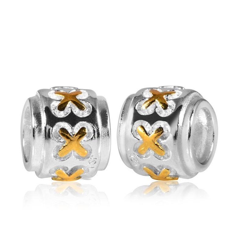 MATERIA 925 Silber Beads Kreuz Anhänger Damen 18K vergoldet für European Armband #119