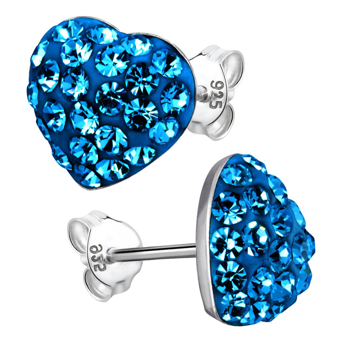 MATERIA Ohrstecker Herz blau Kristall - 925 Silber Ohrringe 9mm
