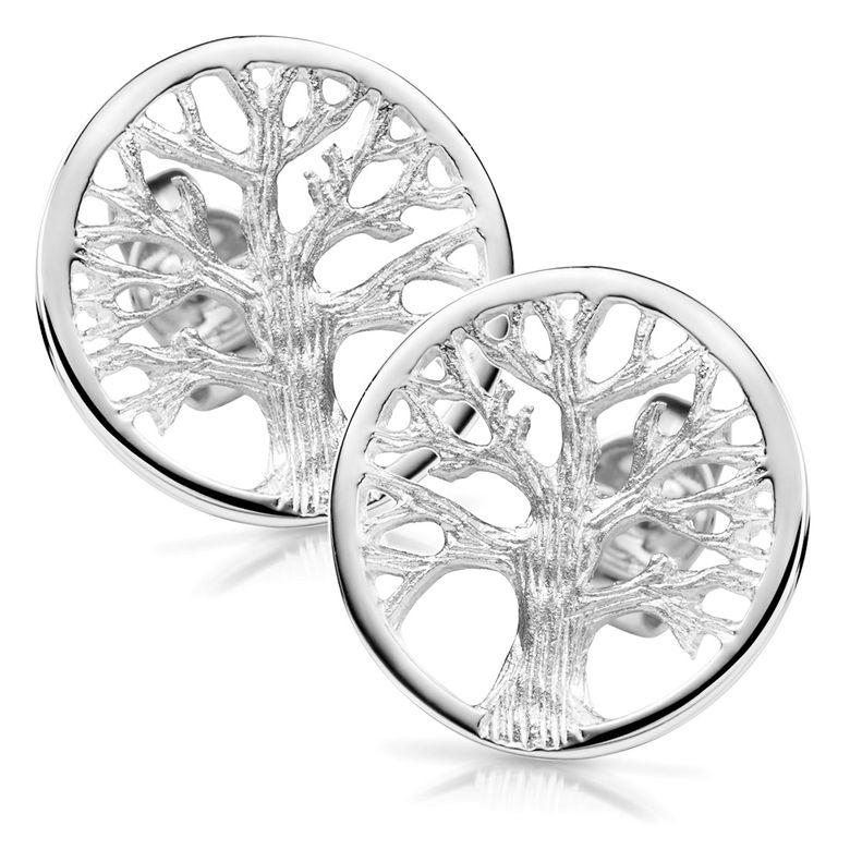 MATERIA Lebensbaum Ohrstecker 925 Silber rund - Baum Ohrringe keltisch rhodiniert für Damen Mädchen SO-179_14mm