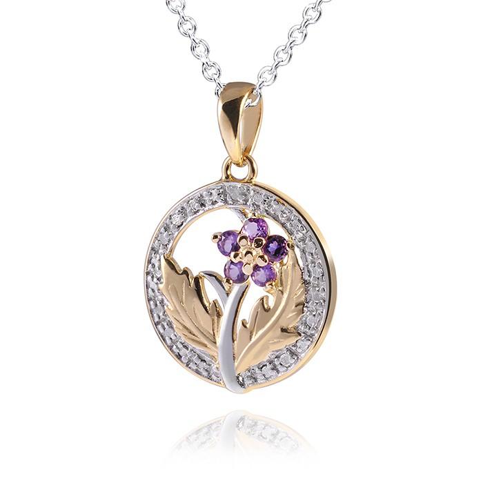 MATERIA 925 Silber Kettenanhänger Blume Amethyst 18k Gold vergoldet inkl. Silber Halskette 45cm #179-30