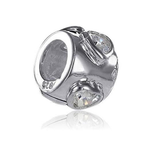 MATERIA 925 Silber Beads Herz Zirkonia Element Silber Charms Anhänger Liebe für European Beads Armband #841