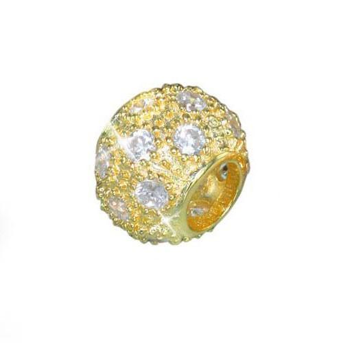 MATERIA Gold Beads Kugel Glitzer Anhänger mit 15 weißen Zirkonia aus 925 Silber für Beads Armband #615