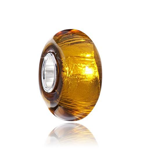 MATERIA Muranoglas Beads Glitzer Anhänger orange gold - 925 Silber Glasperle für Beads Armband #1442