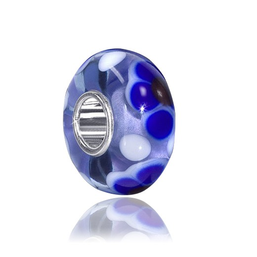 MATERIA Silber 925 Beads Muranoglas Element blaue Punkte - Charms Anhänger für European Beads Armband #1444