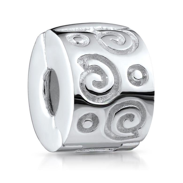 MATERIA Beads 925 Silber Stopper Clip Schnecken - Damen Mädchen Anhänger im Schmuckbeutel #244