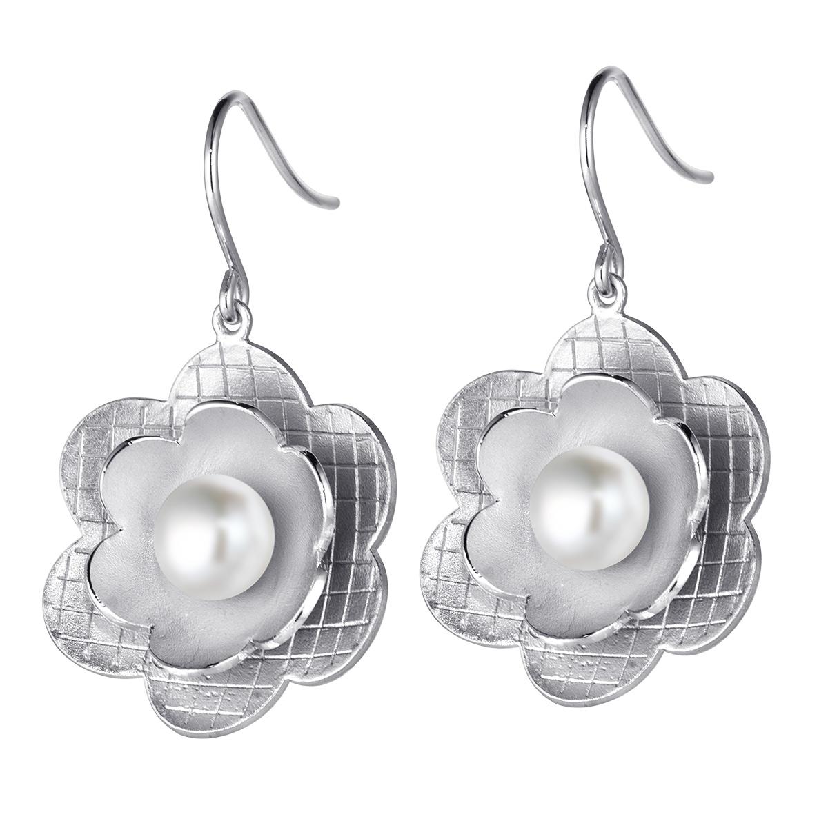 Damen Silber Ohrringe Ohrhänger Ohrschmuck Blume Blüte Geschenk