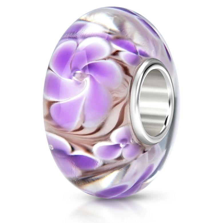 MATERIA 925 Silber Beads Murano Anhänger Blume violett - Glasperle flieder für Beads Armband #466