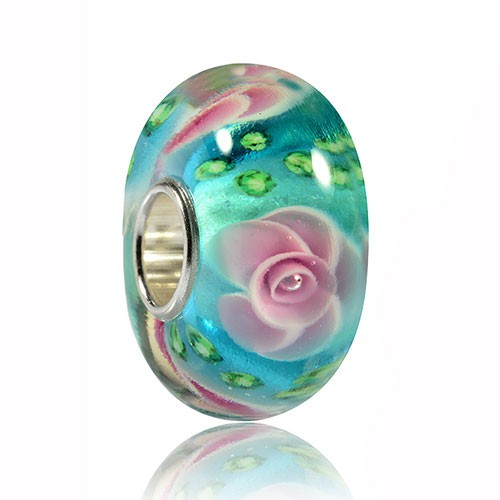 MATERIA 925 Silber Beads Charms Anhänger Rose türkis rosa grün - Muranoglas Perle Blume für Beads Armband #440