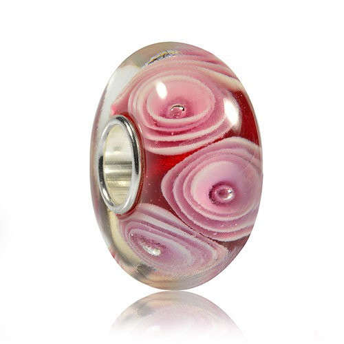 materia murano glas bead charm rose rot rosa. Black Bedroom Furniture Sets. Home Design Ideas