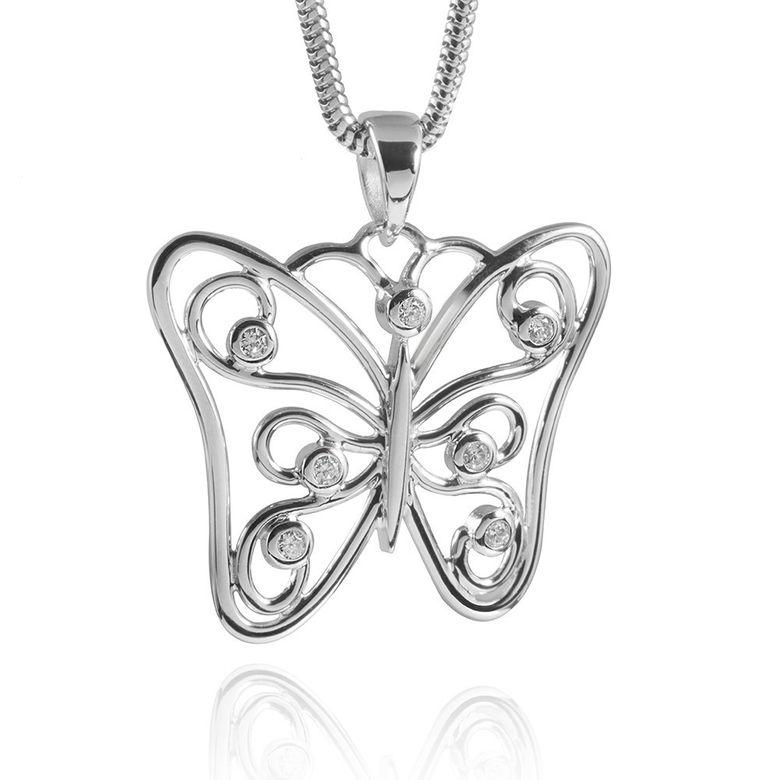 MATERIA 925 Silber Anhänger Schmetterling Zirkonia Butterfly 28x30mm #KA-188
