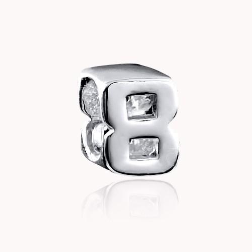 MATERIA Schmuck Beads Zahl 8 - 925 Silber Zahlenanhänger für Beads Armband oder Kette #1500