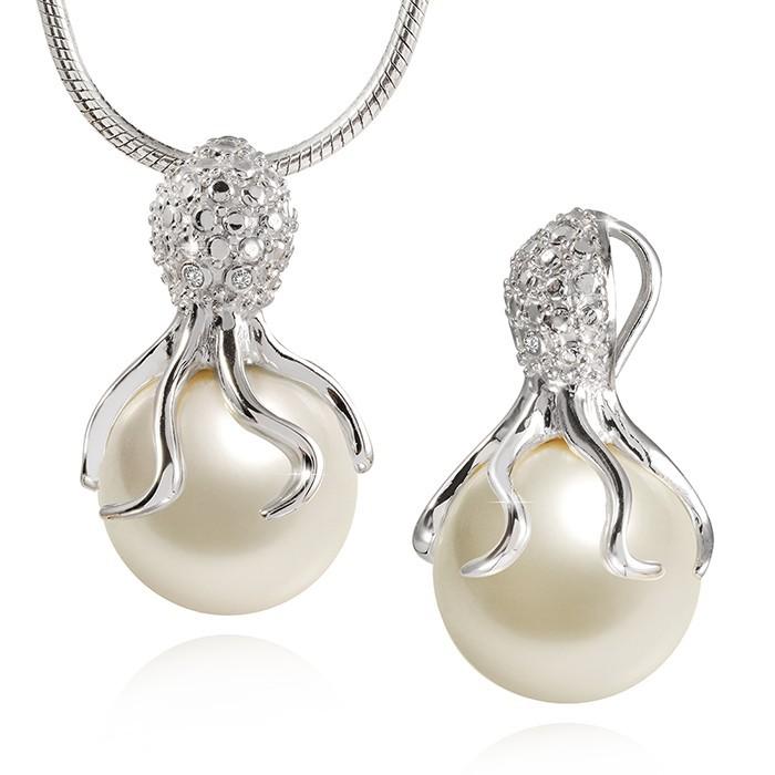 MATERIA Kette mit Oktopus Anhänger Perle Silber 925er