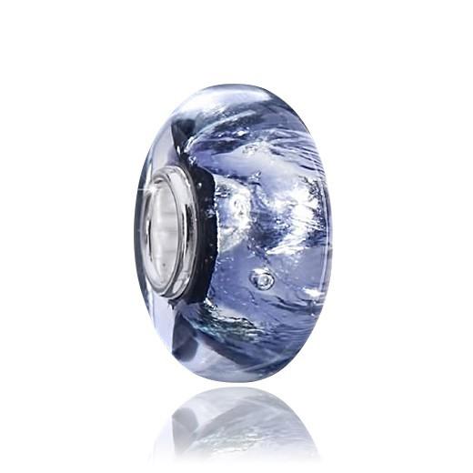 MATERIA Muranoglas Beads Glitzer Charms lila blau mit Silberfolie - Glasperle für Beads Armband #1432